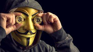 Gemaskeerde Bitcoin Man